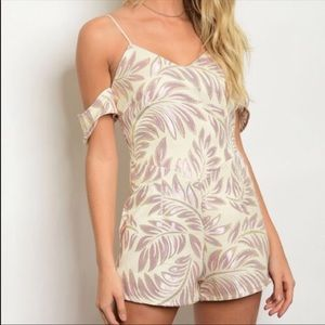 Yours Truly Rose Gold Off the Shoulder Romper